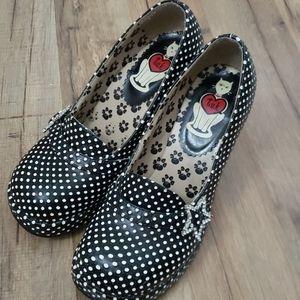 Tuk pinup shoe black white polka dot sz 6 vlv